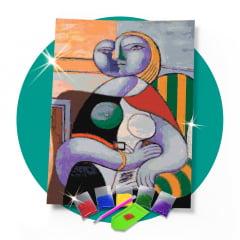 Kit Pintura com Diamantes | Picasso - Leitura 42x60cm - Diamante Redondo | Diamond Painting 5D DIY