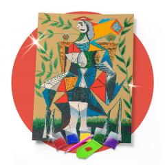 Kit Pintura com Diamantes | Picasso - Mulher sentada no parque 42x60cm - Diamante Redondo | Diamond Painting 5D DIY