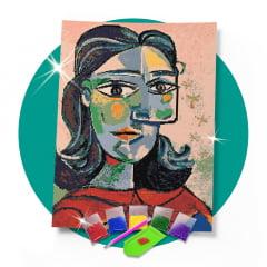 Kit Pintura com Diamantes | Picasso - Olhar Releitura 42x60cm - Diamante Redondo | Diamond Painting 5D DIY