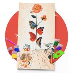 Kit Pintura com Diamantes | Salvador Dali - Borboletas e Rosas 30x57cm - Diamante Redondo | Diamond Painting 5D DIY