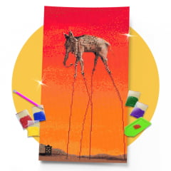 Kit Pintura com Diamantes | Salvador Dali - Elefante 30x57cm - Diamante Redondo | Diamond Painting 5D DIY
