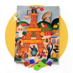 Kit Pintura com Diamantes | Tarsila do Amaral - Carnaval em Madureira 42x60 - Diamante Redondo | Diamond Painting 5D DIY
