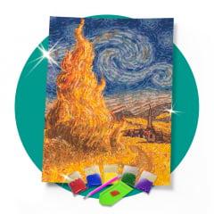 Kit Pintura com Diamantes | Van Gogh - Capim Dourado Releitura 42x60cm - Diamante Redondo | Diamond Painting 5D DIY