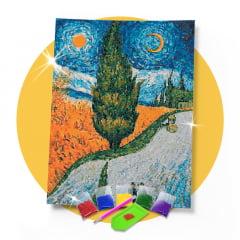 Kit Pintura com Diamantes | Van Gogh - Ciprestes Releitura 42x60cm - Diamante Redondo | Diamond Painting 5D DIY