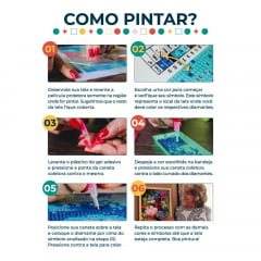 Kit Pintura com Diamantes   Van Gogh - Ciprestes Releitura 42x60cm - Diamante Redondo   Diamond Painting 5D DIY