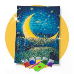 Kit Pintura com Diamantes | Van Gogh - Lua Dourada Releitura 42x60cm - Diamante Redondo | Diamond Painting 5D DIY