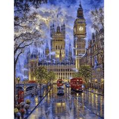 Pintura Com Diamantes - Tela Big Ben - 38 x 48 cm