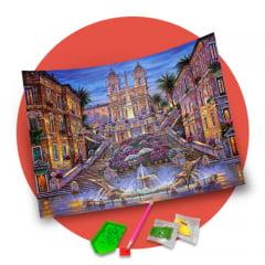 Pintura Com Diamantes - Tela Encantos da Europa - 48 x 38 cm - Diamante Redondo