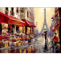 Pintura Com Diamantes - Tela Paris Após a Chuva - 58 x 48 cm