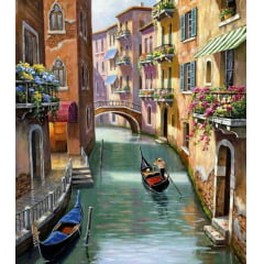 Pintura Com Diamantes - Tela Passeio de Gôndola Veneza - 38 x 48 cm