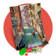 Pintura Com Diamantes - Tela Passeio de Gondola Veneza - 38 x 48 cm - Diamante Redondo