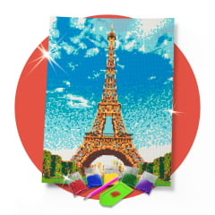 Kit Pintura com Diamantes | Tela Torre Eiffel Paris - 30 x 42 cm - Diamante Redondo | Diamond Painting 5D DIY