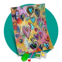 Tela Corações Coloridos - Pintura com Diamantes