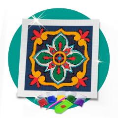 Kit Pintura com Diamantes | Tela Azulejo Português Estrela- 30 x 30 cm - Diamante Redondo | Diamond Painting 5D DIY