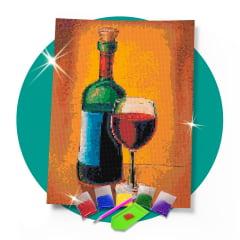 Kit Pintura com Diamantes | Tela Taça de Vinho- 30 x 42 cm - Diamante Redondo | Diamond Painting 5D DIY