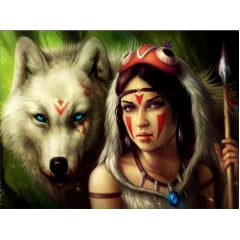 Pintura Com Diamantes - Tela A India e o Lobo - 48 x 58 cm - Diamante Redondo