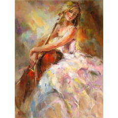 Pintura Com Diamantes - Tela Bailarina Musical - 48 x 58 cm - Diamante Redondo