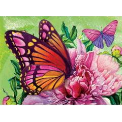 Pintura Com Diamantes - Tela Borboleta Rosa - 48 x 38 cm