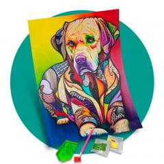 Pintura Com Diamantes - Tela Dog Arte - 38 x 48 cm - Diamante Redondo
