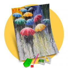 Pintura Com Diamantes - Tela Guarda Chuvas Coloridos - 38 x 48 cm - Diamante Redondo