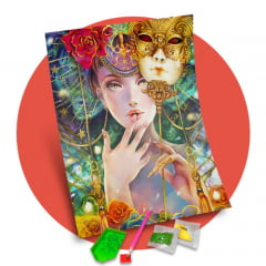 Pintura Com Diamantes - Tela Máscaras Veneza - 38 x 48 cm