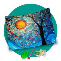 Pintura Com Diamantes - Tela Sol de Inverno - 48 x 38 cm - Diamante Redondo