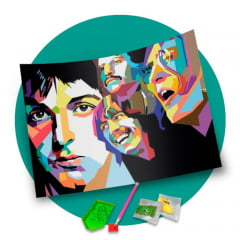 Pintura Com Diamantes - Tela The Beatles - 48 x 58 cm - Diamante Redondo