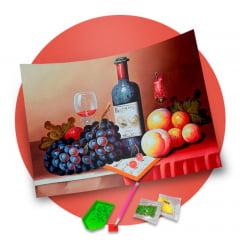 Pintura Com Diamantes - Tela Vinho e Frutas - 38 x 48 cm