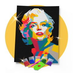 Kit Pintura com Diamantes | Tela Marilyn Monroe - 30 x 42 cm - Diamante Redondo | Diamond Painting 5D DIY