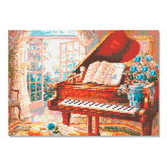 Kit Pintura com Diamantes | Tela O Piano - 42 x 30 cm - Diamante Redondo | Diamond Painting 5D DIY