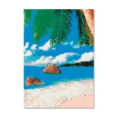 Kit Pintura com Diamantes | Tela Praia e Mar- 30 x 42 cm - Diamante Redondo | Diamond Painting 5D DIY