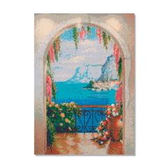 Kit Pintura com Diamantes | Tela Vista do Mediterrâneo  - 42 x 60 cm - Diamante Redondo | Diamond Painting 5D DIY