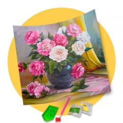 Pintura Com Diamantes - Tela Arranjo Floral - 48 x 38 cm