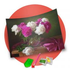 Pintura Com Diamantes - Tela Beleza das Rosas - 48 x 38 cm