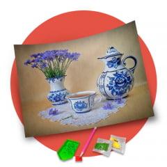 Pintura Com Diamantes - Tela Chá com Charme - 36 x 30 cm - Diamante Redondo