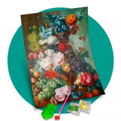 Pintura Com Diamantes - Tela Flores e Frutas - 48 x 58 cm - Diamante Redondo