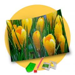 Pintura Com Diamantes - Tela Tulipas Amarelas - 36 x 30 cm - Diamante Redondo