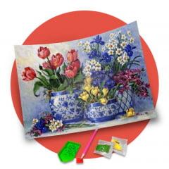 Pintura Com Diamantes - Tela Vaso Multi Flores - 48 x 38 cm