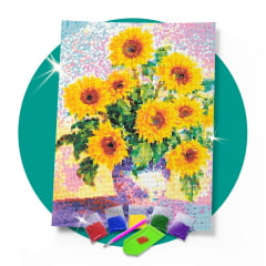 Tela Arranjo Floral - 30 x 42 cm - Diamante Redondo
