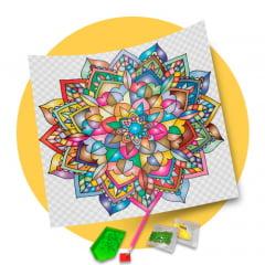 Pintura Com Diamantes - Tela Mandala Arco-íris - 48 x 48 cm