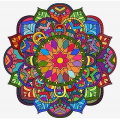 Pintura Com Diamantes - Tela Mandala Colorida - 48 x 48 cm