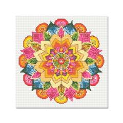 Kit Pintura com Diamantes | Tela Mandala Multi Cores - 40 x 40 cm - Diamante Redondo | Diamond Painting 5D DIY
