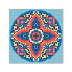 Kit Pintura com Diamantes | Tela Mandala Estrela - 21 x 21 cm - Diamante Redondo | Diamond Painting 5D DIY