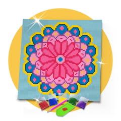 Kit Pintura com Diamantes | Tela Mandala Pétalas - 21 x 21 cm - Diamante Redondo | Diamond Painting 5D DIY