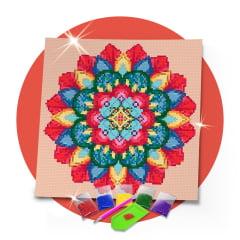 Kit Pintura com Diamantes | Tela Mandala Primavera - 30 x 30 cm - Diamante Redondo | Diamond Painting 5D DIY