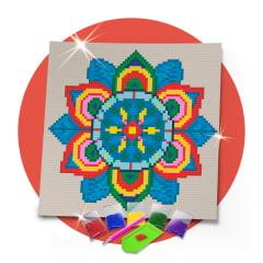 Kit Pintura com Diamantes | Tela Mandala Vibrante - 21 x 21 cm - Diamante Redondo | Diamond Painting 5D DIY