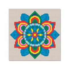 Kit Pintura com Diamantes   Tela Mandala Vibrante - 21 x 21 cm - Diamante Redondo   Diamond Painting 5D DIY