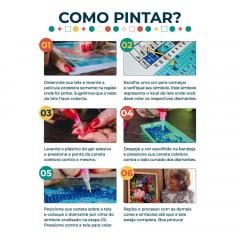 Kit Pintura com Diamantes   Pinheiro Colorido 42x60cm - Diamante Redondo   Diamond Painting 5D DIY