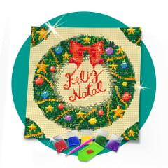 Tela Guirlanda de Natal - 30 x 30 cm - Diamante Redondo