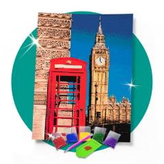 Kit Pintura com Diamantes | Londres Urbana 42x60cm - Diamante Redondo | Diamond Painting 5D DIY